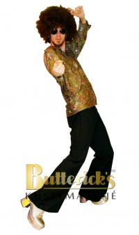 Discoskjorta guld glitter
