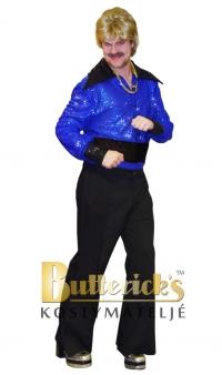Discoskjorta svart/blå glitter
