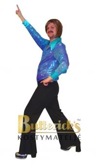 Discoskjorta blå/lila glitter