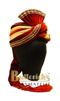 Röd turban m strass